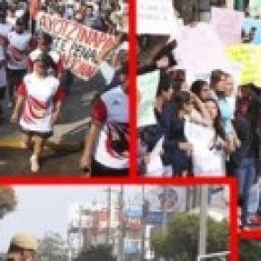 Momentos de protesta en recorrido de la fogata.