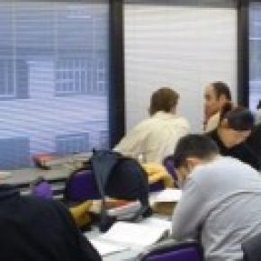 Busy university students in meeting