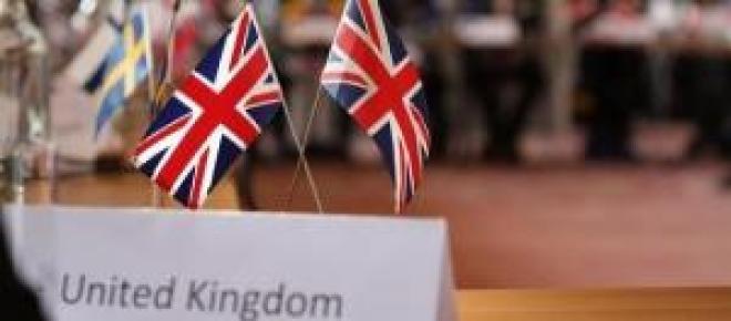 United Kingdom flag during a EU meeting