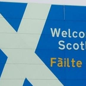 Welcome to Scotland road sign