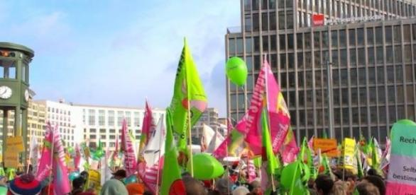 Demonstration gegen TTIP in Berlin.