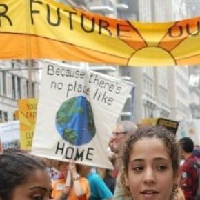 Youth at climate protest in Central park West, NY