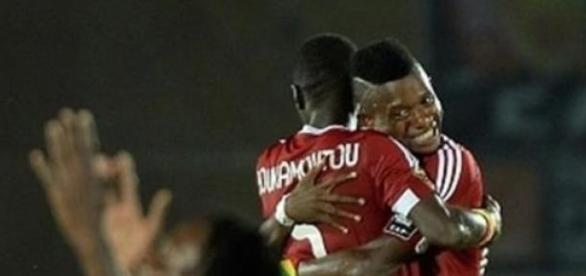 Congo's players celebrate at the final whistle