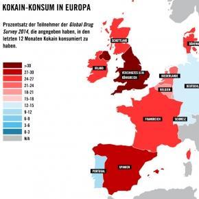 Kokain Konsum in Europa steigt weiter, Grafik: PR