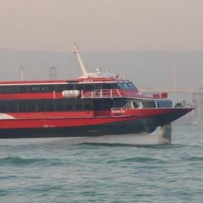 High-speed ferries run the route 24/7.