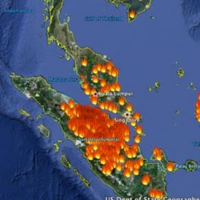 The Island of Sumatra is on fire