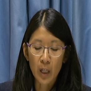 Joanne Liu s'exprimant à Genève sur le drame