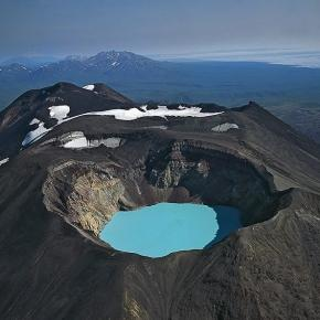 Karymsky lake, formed in a volcano
