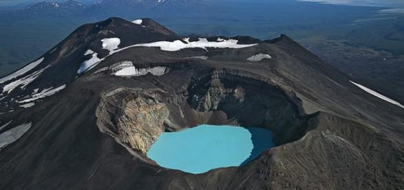 Karymsky lake, formed in a volcano