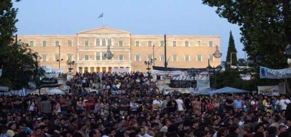 Greek workers strike against austerity measures.