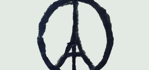 Solidary symbol as Paris asks for peace.