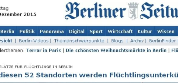 Strona gazety Berliner Zeitung / printscreen