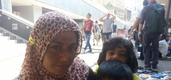 Manal and her family in Budapest.