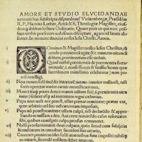 Fragment 95 tez opublikowanych przez Marcina Lutra
