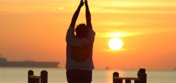 Prática de actividade física ao ar livre.