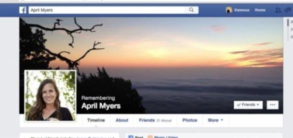 An example of a Facebook memorial page