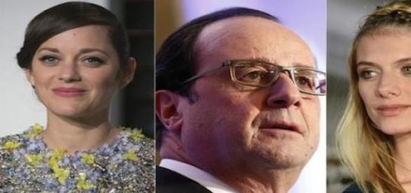 François Hollande et les deux actrices françaises.