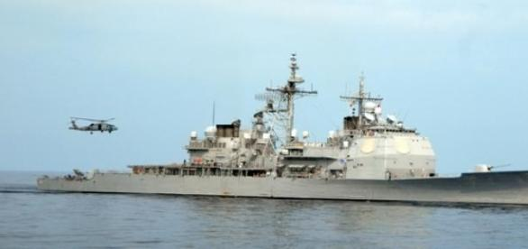 The USS Vicksburg participated in the naval drills