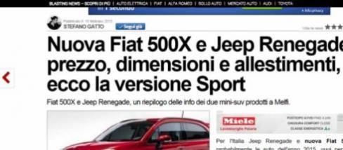 Jeep Renegade e Fiat 500x vantaggiose offerte