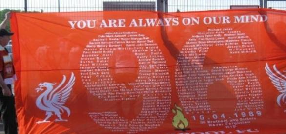 A familiar banner in Liverpool: Justice for the 96
