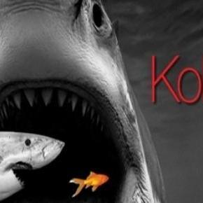 a plakát, a darabban megjelenő cápákkal.