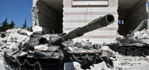 Destroyed tanks in Azaz, Syria