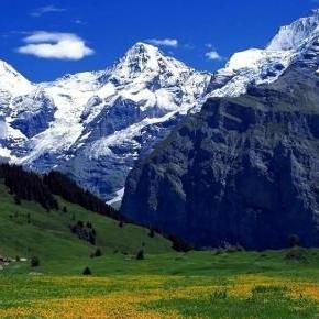 Peisaj din Elvetia, pe timpul verii