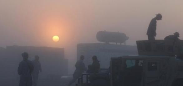 Military troops in Iraq at dawn
