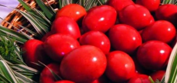 Traditional Orthodox Easter red eggs
