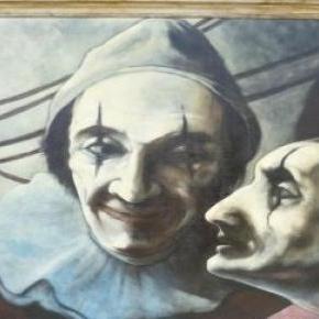 Pierrot és Harlekin bohocok-olajfestmény