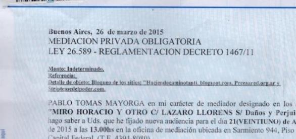 Citación del abogado de Horacio Miró al periodista