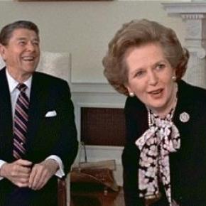 Ronald Reagan és Margaret Thatcher 1985-ben