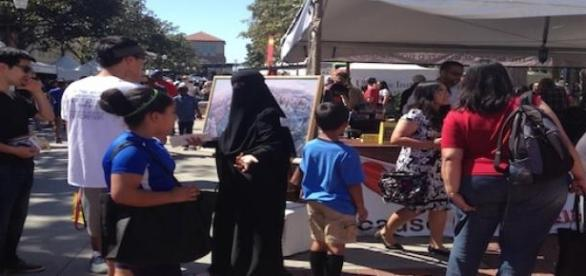 Veiled at the Quran booth, LA Festival of Books.