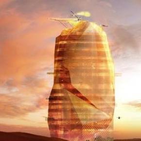 Így olvadna bele a sivatagi környezetébe a város