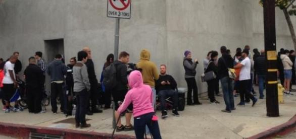 People lining up outside Maxfield in Los Angeles.