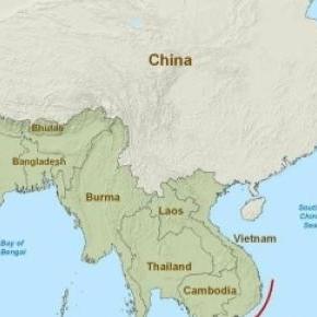 Map of seas China has access to (South China Sea)