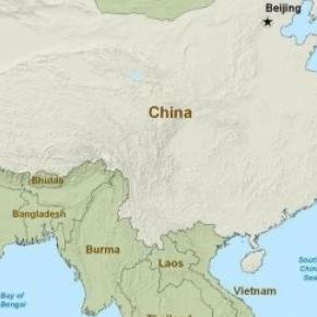 Map of the seas surrounding China