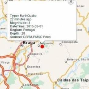 Tremor terra sinalizado em Braga