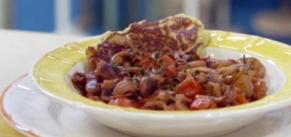 Moscardelli, pomodoro e pancake di patate