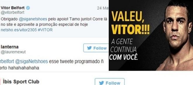Vitor Belfort perde a luta e faz merchan após derrota no UFC para lutador americano e vira piada em rede social. Foto: Reprodução/Netshoes e Twitter