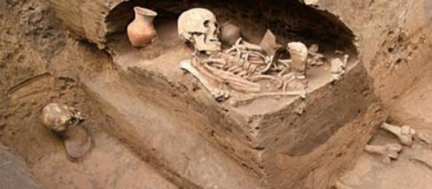 Una de las tumbas perteneciente a la cultura Qijia