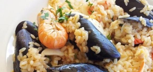 Il risotto di mare, con pesce e frutti di mare