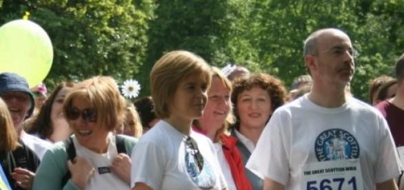Nicola Sturgeon on a public walk about.
