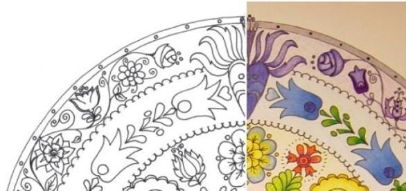 Mandala színezése, festése