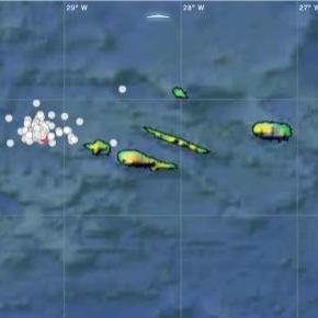 Mapa das ocorrências ao largo da ilha do Faial