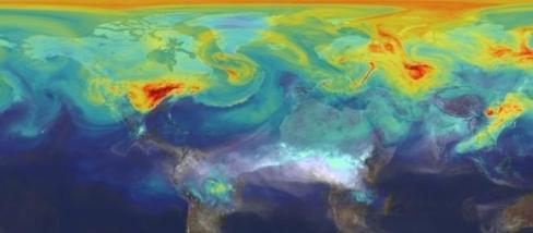A NASA felvétele a légkör széndioxid szintjéről