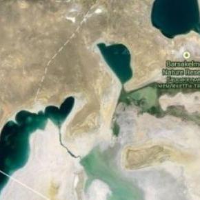 A Google műhold-felvétele az Aral tóról 2015-ben