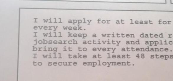 Part of Pam's jobseekers agreement