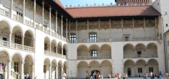 Dziedziniec zamku wawelskiego.