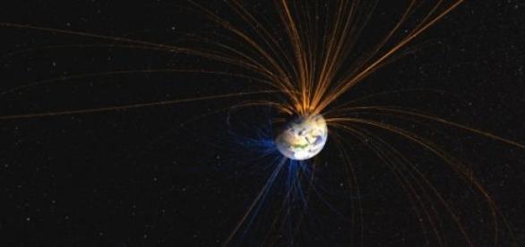 Примерный вид магнитного поля Земли